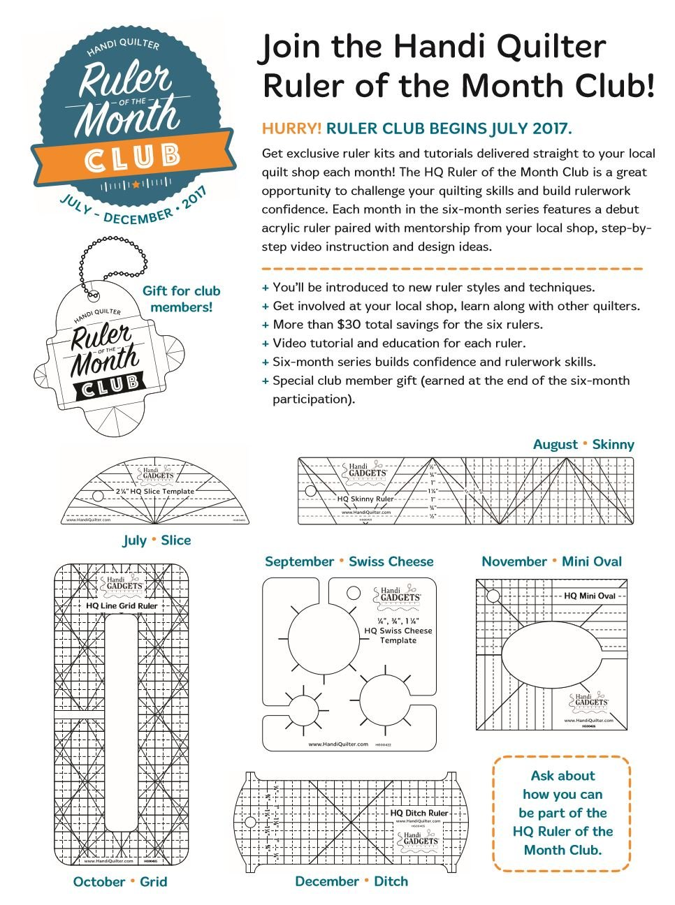 Handi Quilter Ruler Of The Month Club At Among Friends