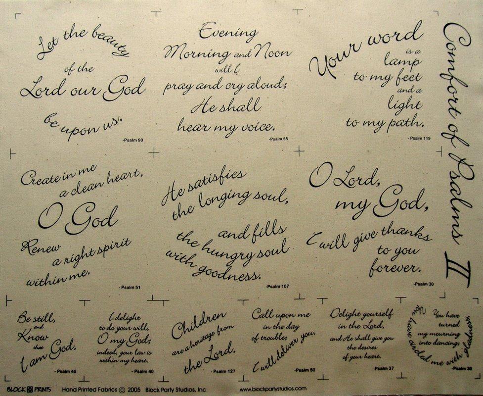 Comfort of Psalms II Quilt Fabric Panel