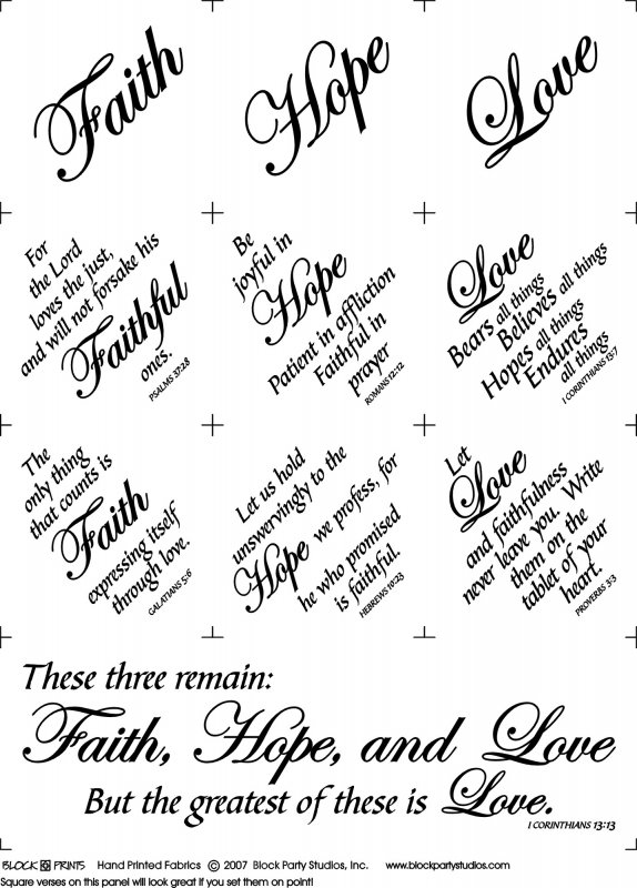 Faith Hope & Love Quilt Fabric Panel