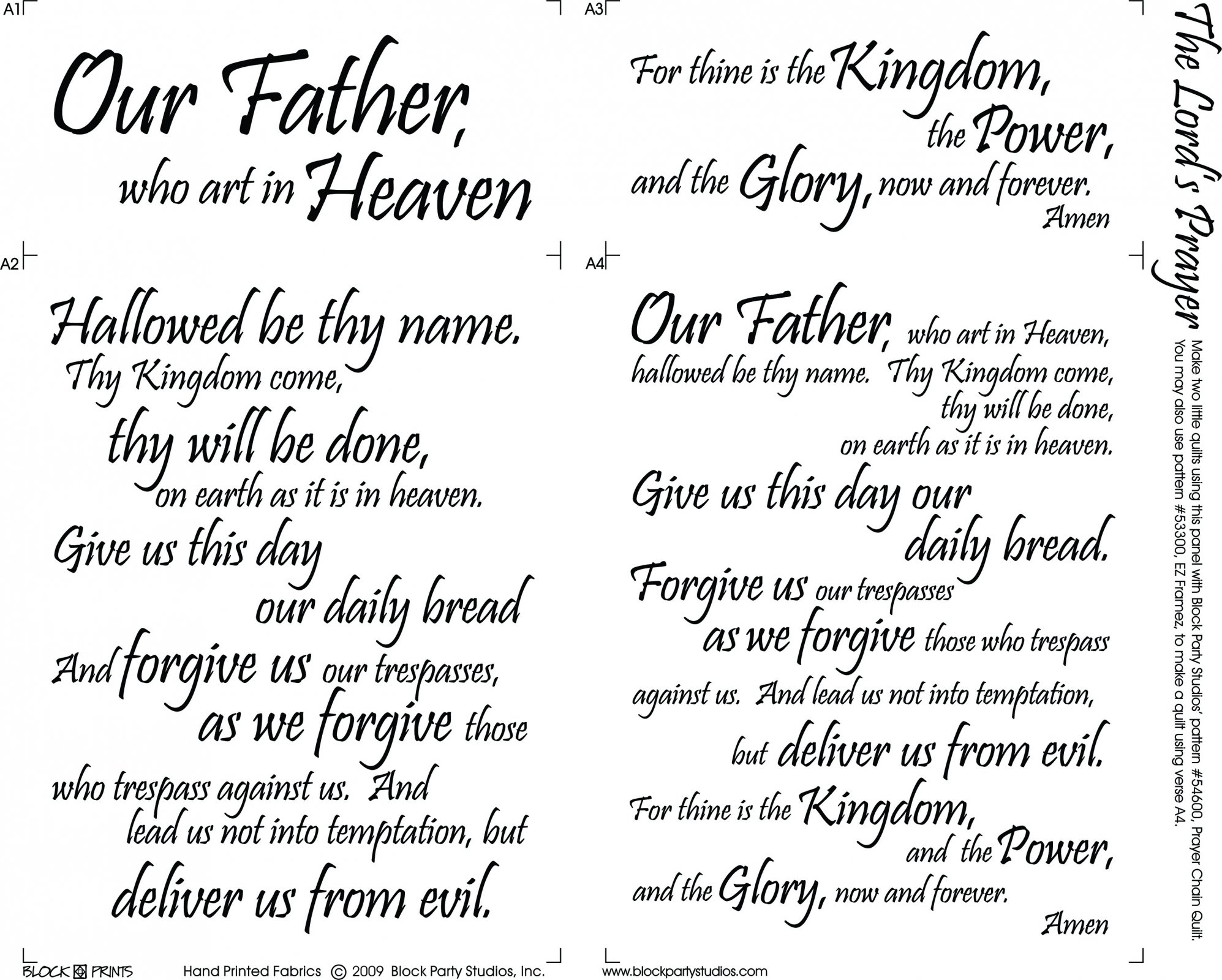 the lord 39 s prayer quilt fabric panel 664. Black Bedroom Furniture Sets. Home Design Ideas