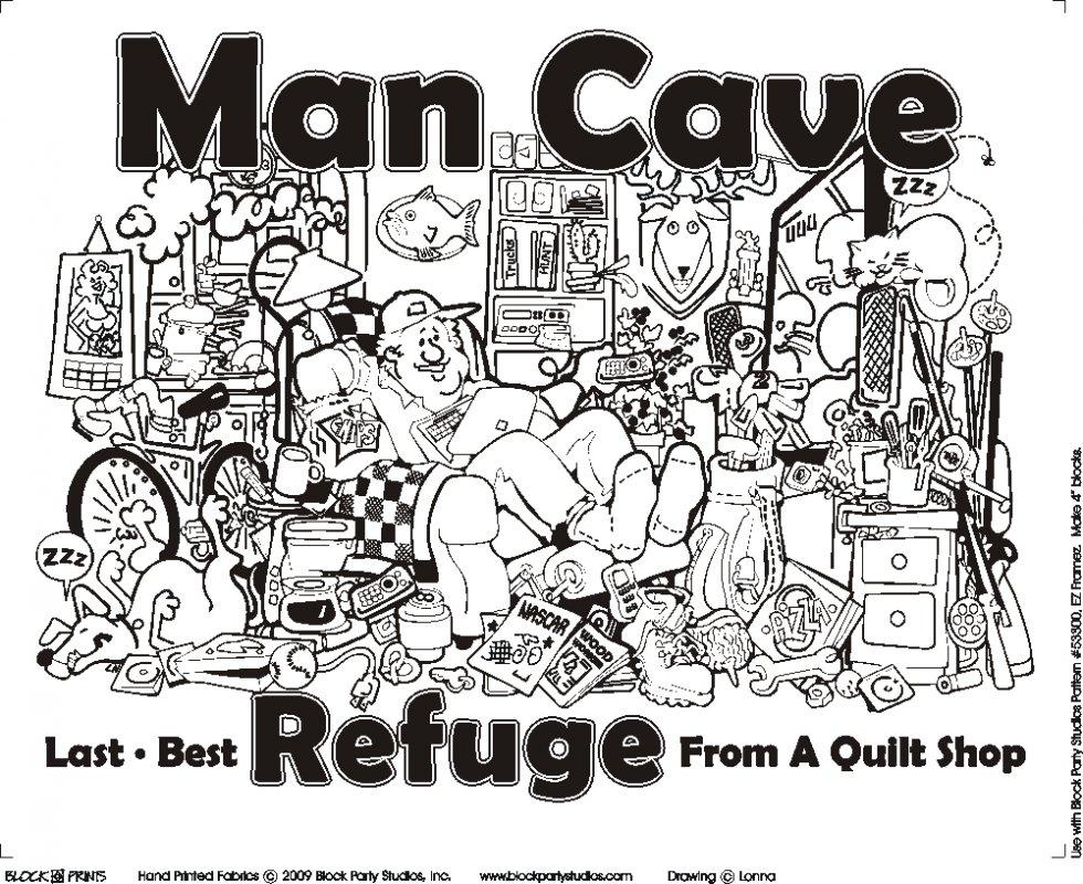 Man Cave Quilt Fabric Panel