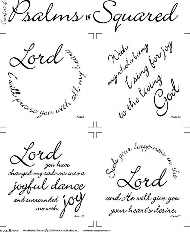 Comfort of Psalms IV Quilt Fabric Panel : Psalms Squared