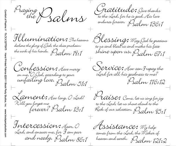 Comfort of Psalms V Quilt Fabric Panel