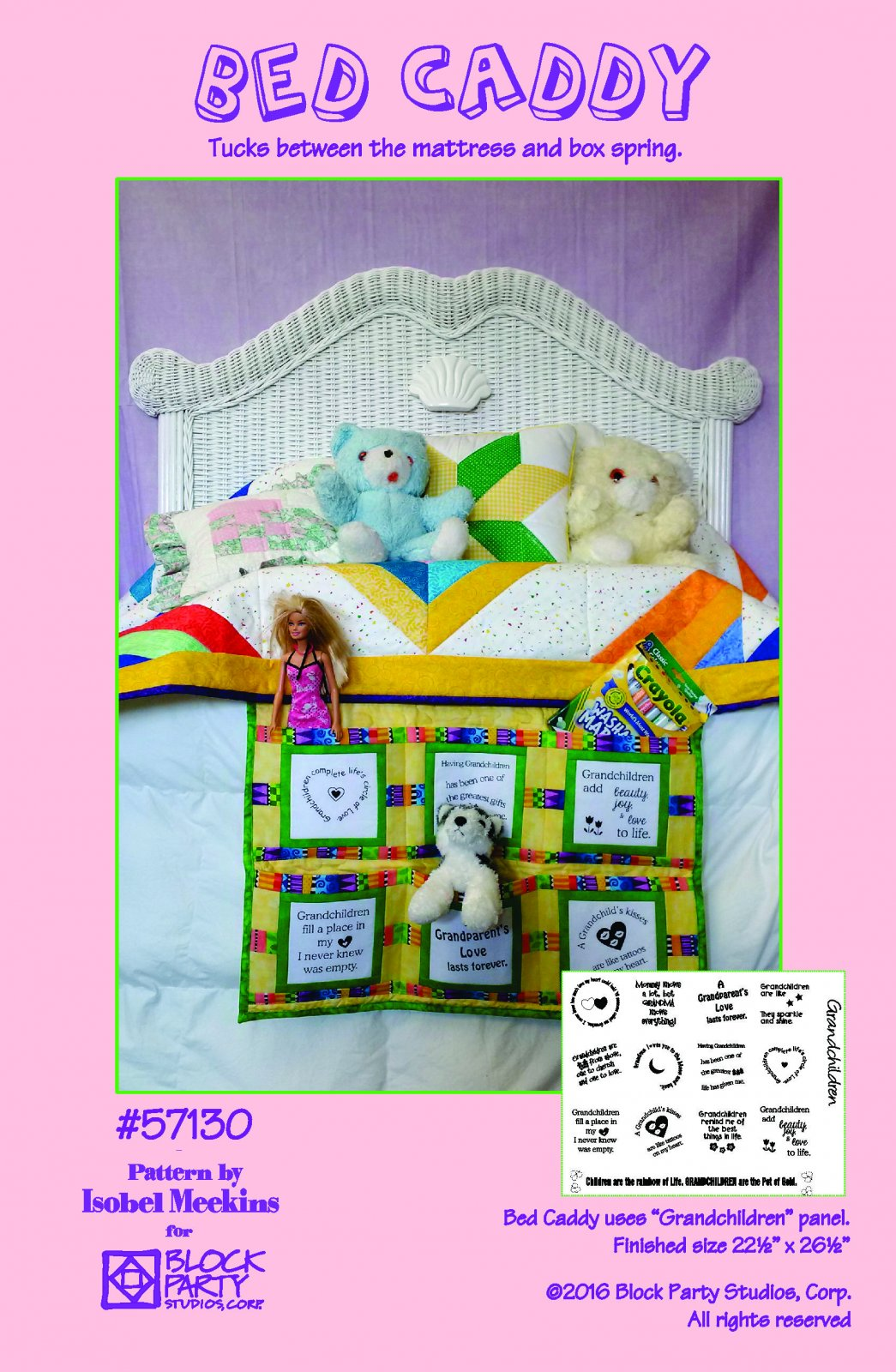 Bed Caddy Pattern with Grandchildren Panel