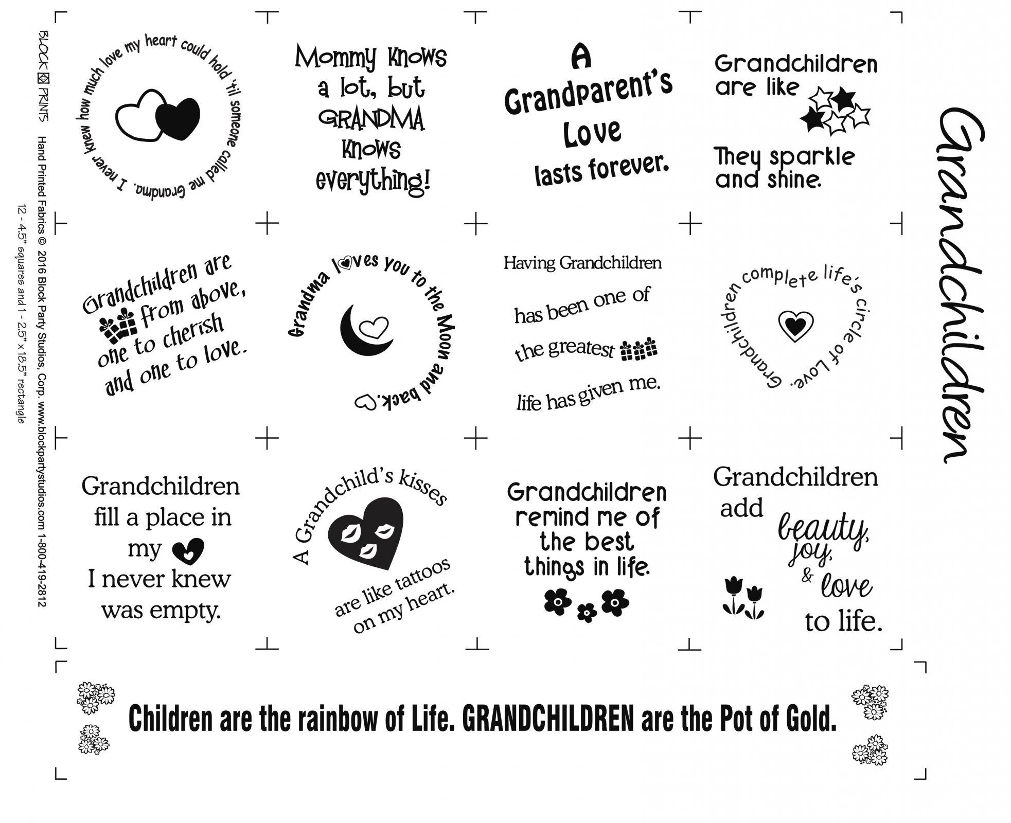 Grandchildren Fabric Panel
