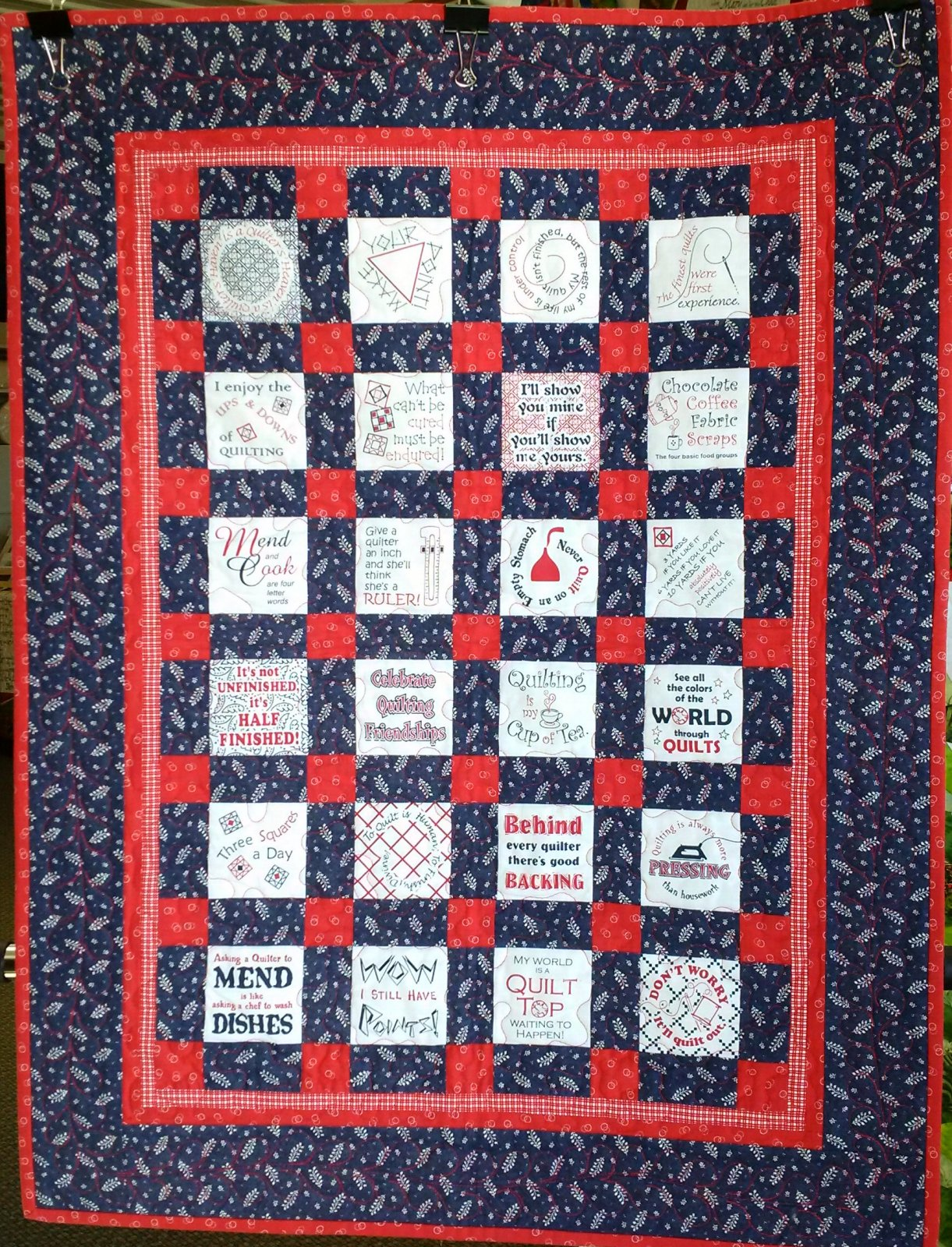 Thinking Out Loud Quilt - Navy & Red