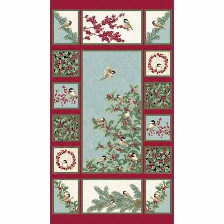 Chickadees and Berries Multi Metallic Panel