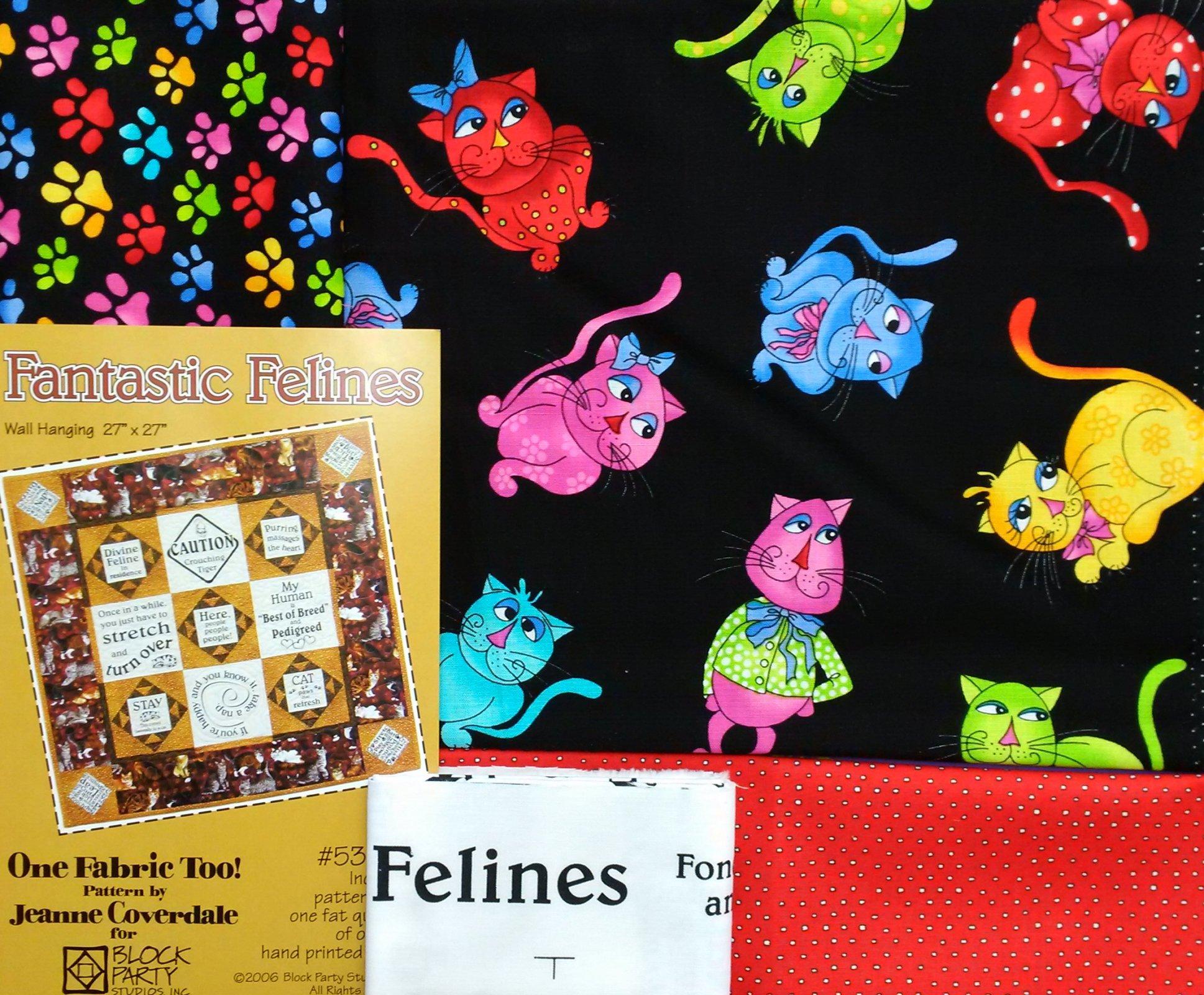 Man Cave Quilt Kit : Fantastic felines quilt fabric kit