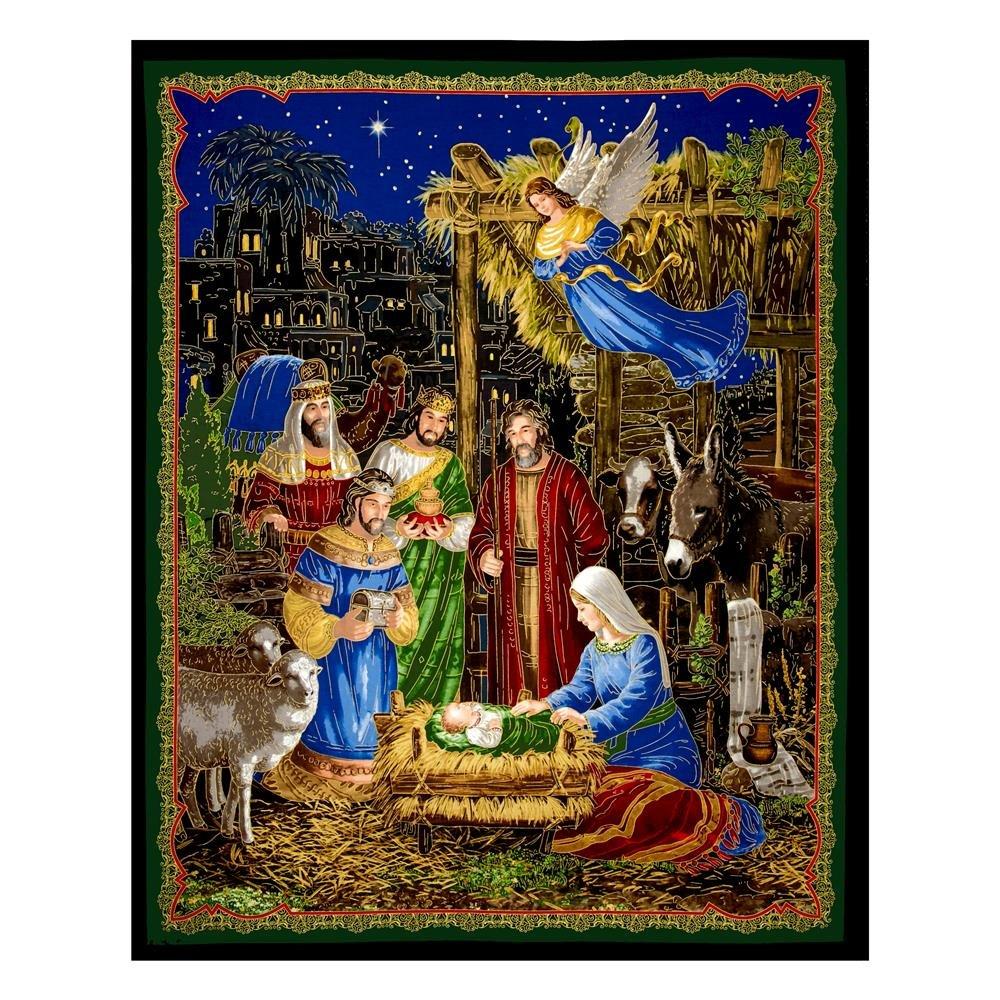 Bethlehem Metallic Nativity Panel
