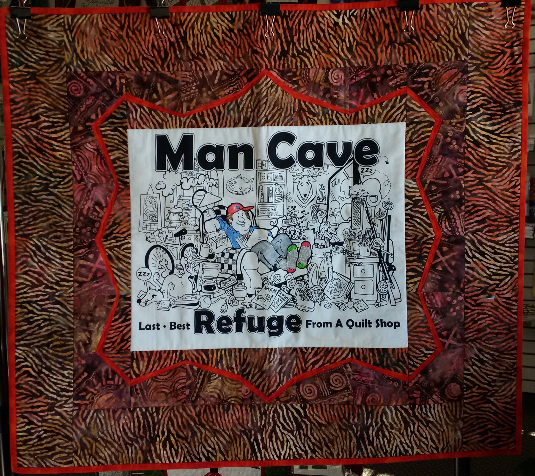 Man Cave Brown and Red Wall Hanging
