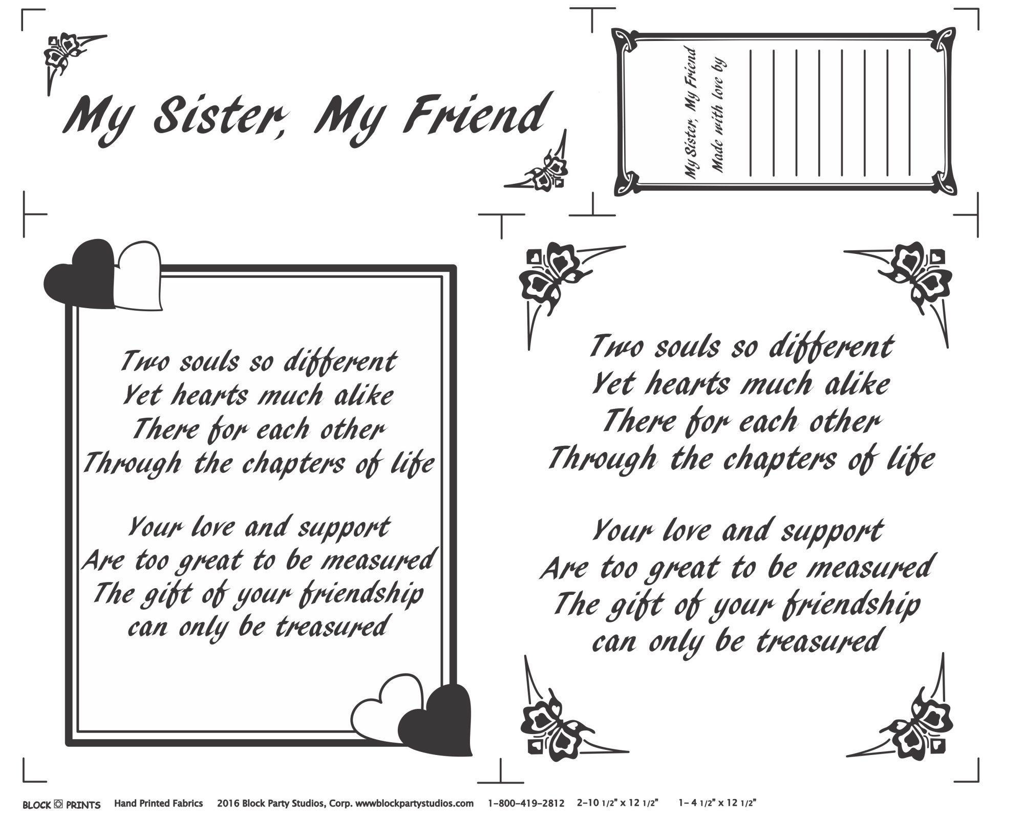 My Sister My Friend Fabric Panel