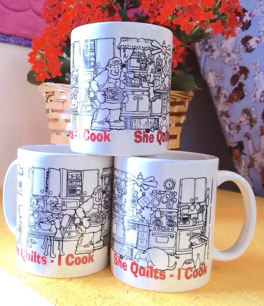 She Quilts - I Cook Mug