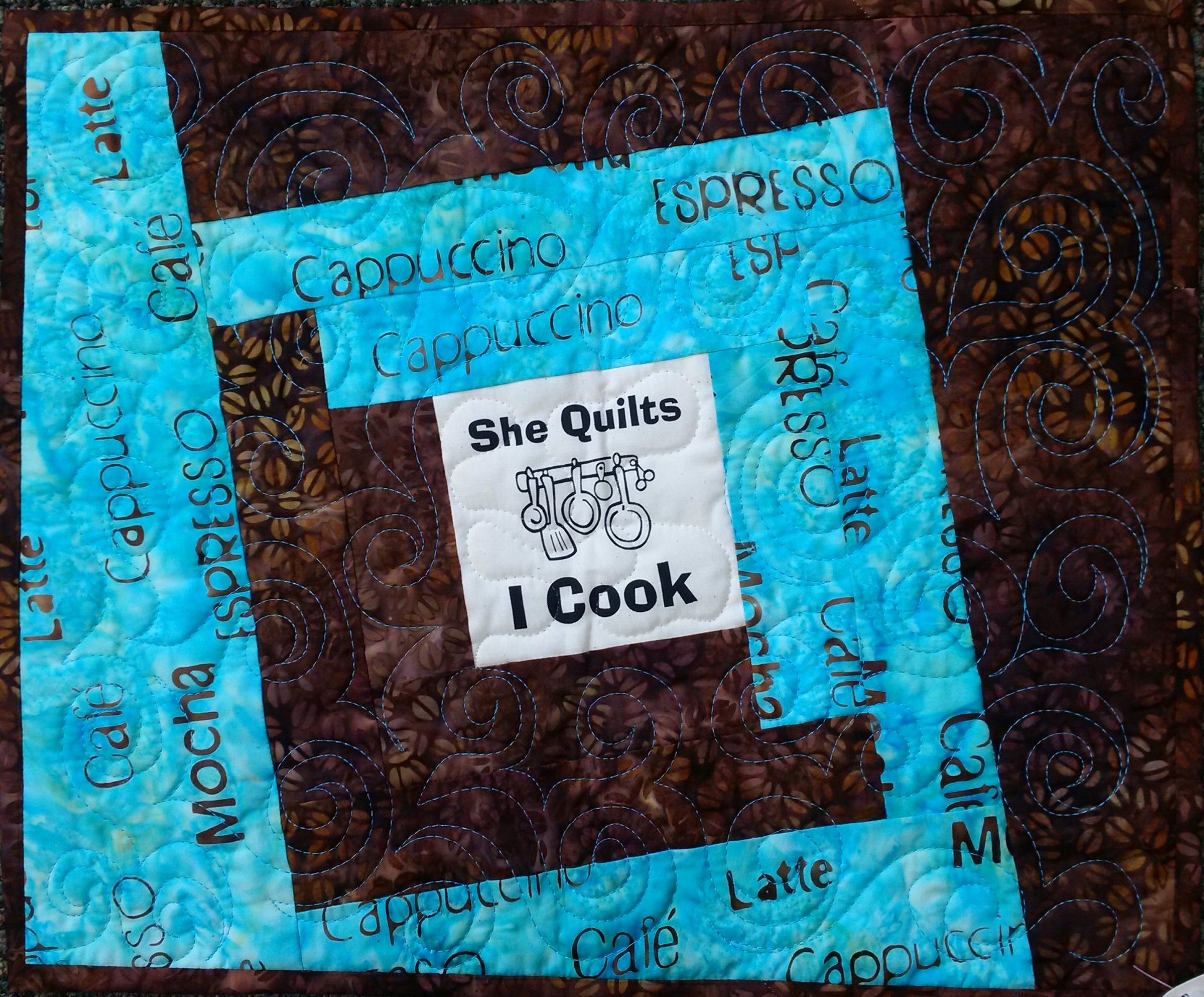 She Quilts I Cook Placemat - with Coffee Words
