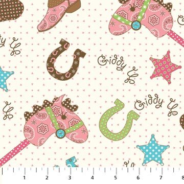 Giddy up girls from northcott 3524 21 for Horse fabric for kids