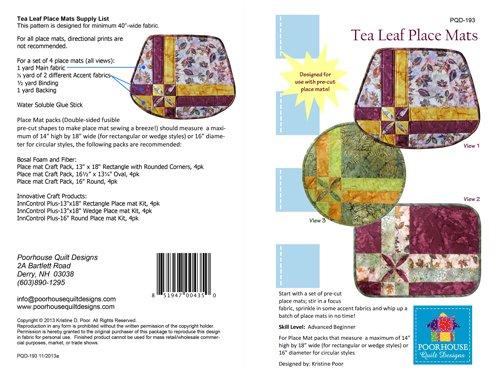 Tea Leaf Place Mats - Poor House Quilt Designs - 851947004350