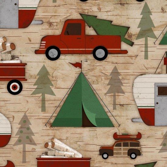 Cars/Campers allover-Beige