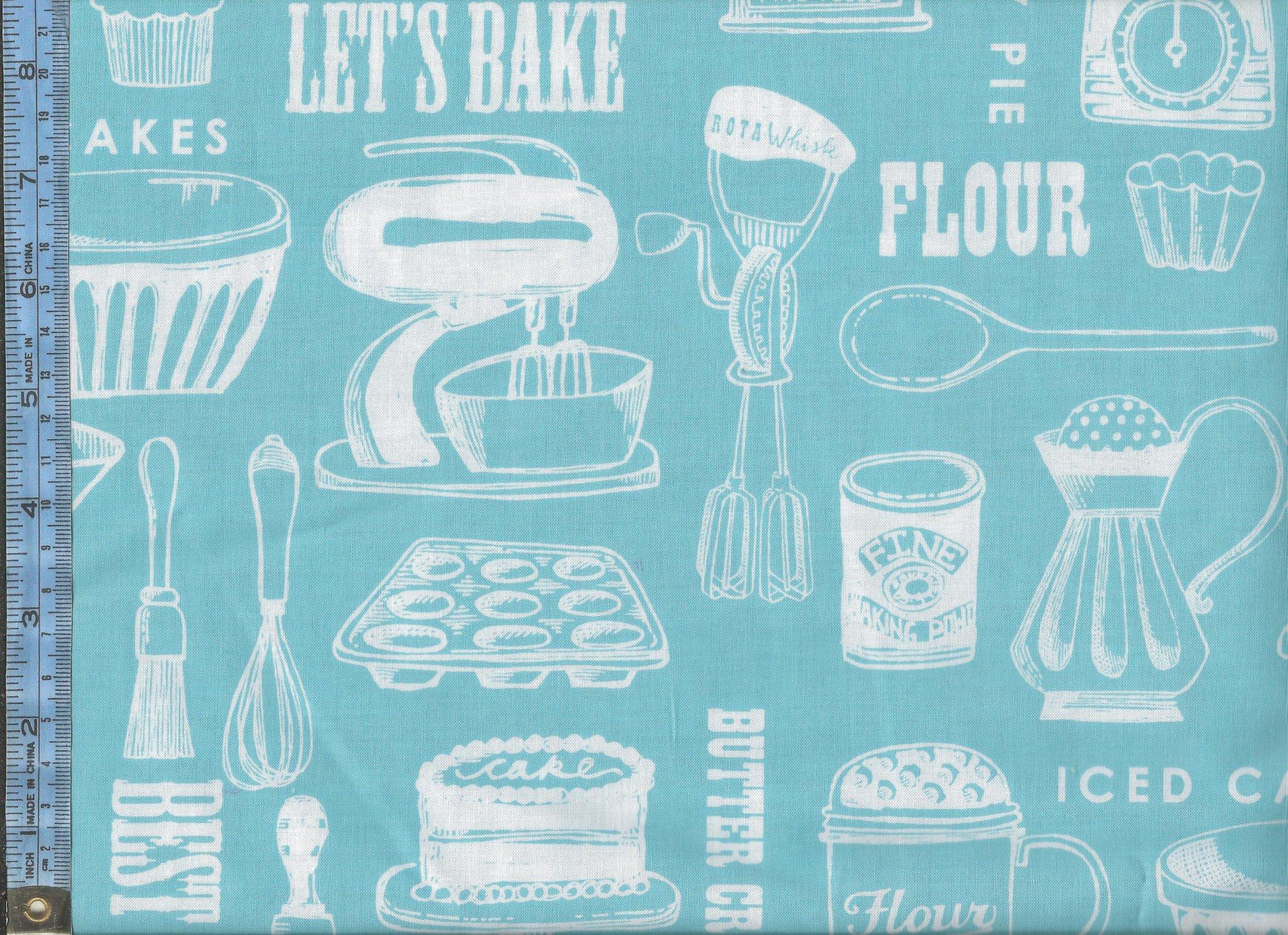 cream - white kitchen utensils on turquoise background