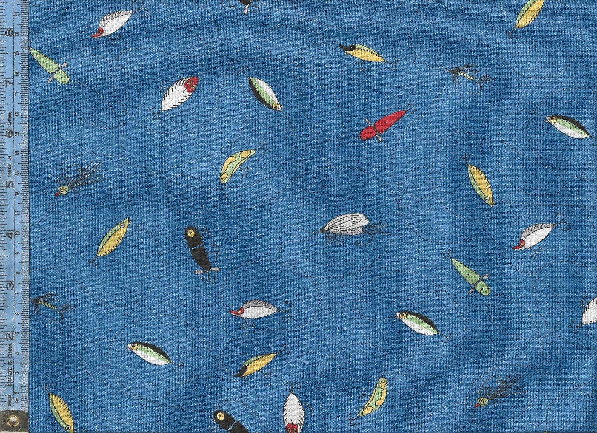Background image 8851 - Fishline Fishing Line With Lures On Blue Background