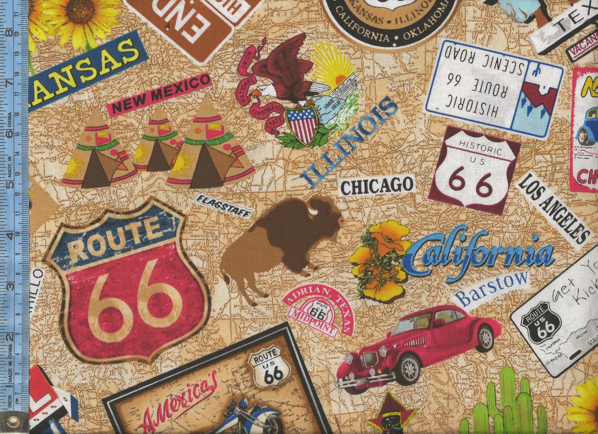 Street Signs Names Of States And Cities And Landmarks On Tan - Map of us 66