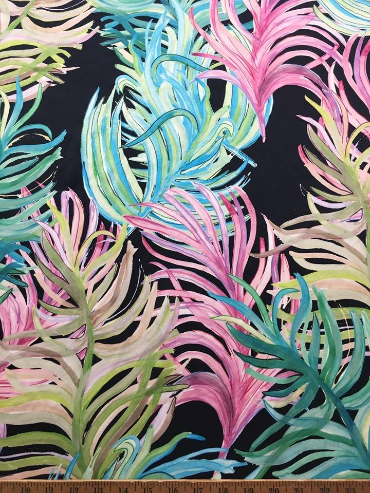 Big Colorful Ferns on Black Silk
