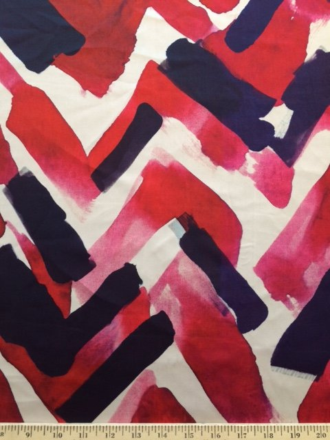 Red, Purple and Cream Painterly Italian Silk Satin