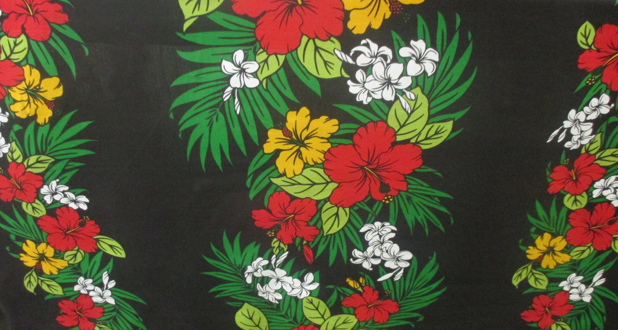 Hibiscus Double Border - Black