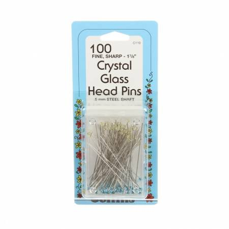 Crystal Glass Headpins 1- 7/8 100ct
