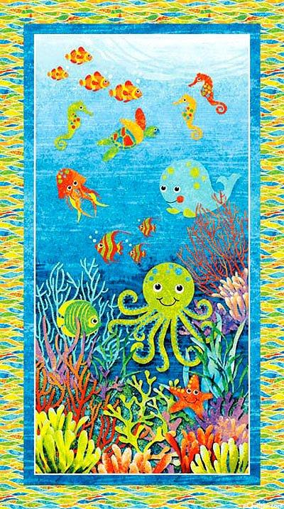 Northcott stonehenge kids undersea adventure panel for Children s fabric panels