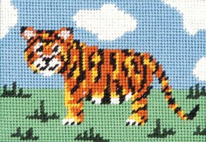 beginner needlepoint kit tiger
