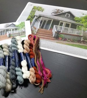 custom needlepoint of a house