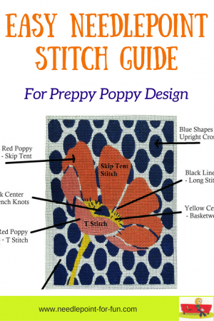 Easy stitch guide for daisies needlepoint canvas
