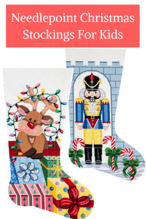 Needlepoint Christmas stockings for kids