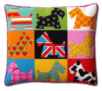needlepoint pillow kit scotty dogs tapestry england