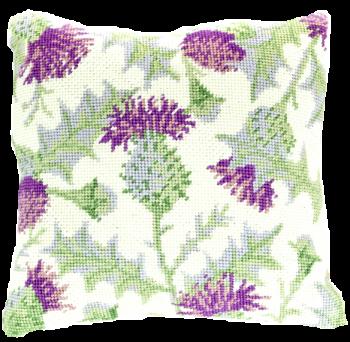 needlepoint pillow kit thistle tapestry tartan scotland