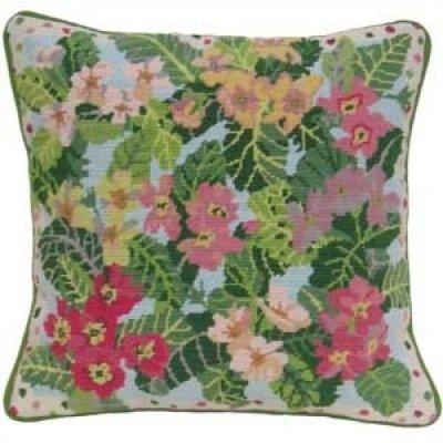 garden primroses needlepoint cushion kit