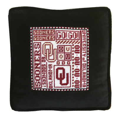 oklahoma university college football needlepoint pillow with inset