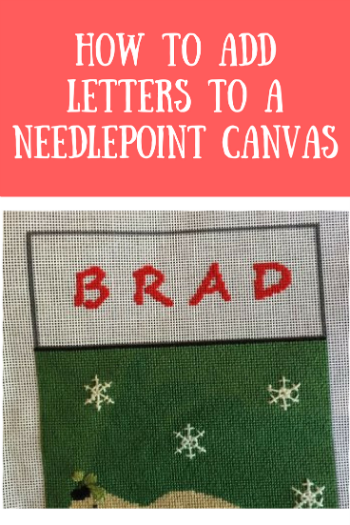 how to add letters to a needlepoint canvas