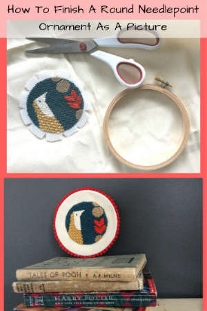 how to finish a round needlepoint as a picture