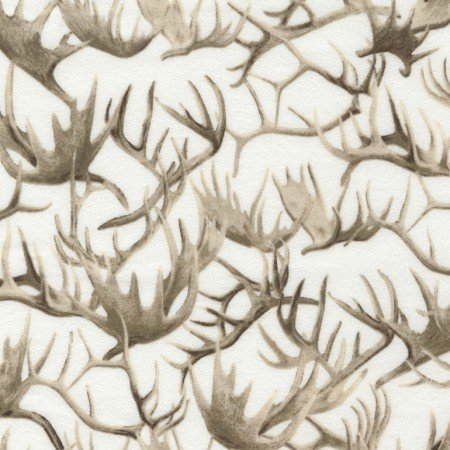 FLANNEL Antler Fabric, Deer Antlers, Antlers, Timeless Treasures, CABIN CF4809, Nature Fabric, 01173A