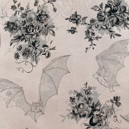 Angela's Attic by Alexander Henry - Floral Toile Fabric, Gothic Fabric - Bat Fabric, Spiderweb Fabric - Grey - 8375A