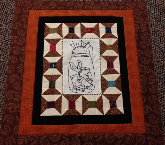 Sewing Jar Embroidery Quilt Kit