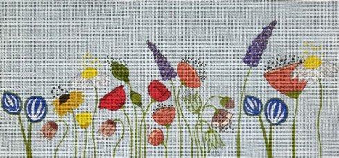wildflowers handpainted needlepoint