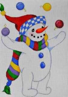 Juggling Snowman Handpainted Canvas