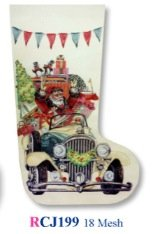 Santa in Packard Stocking Canvas