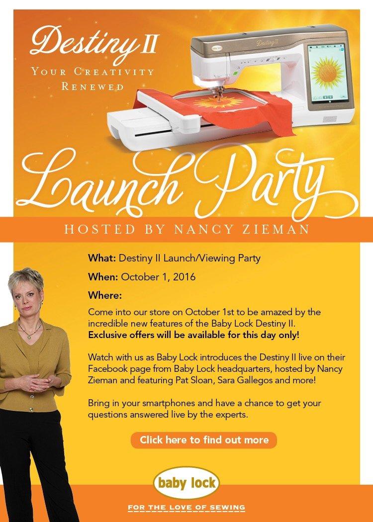 Baby Lock Destiny II Launch Party