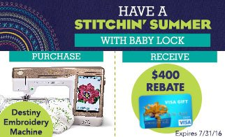 Baby Lock destiny rebate offer