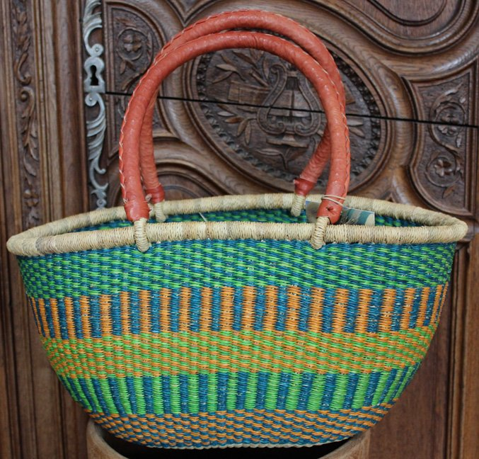 Ghana Double Weave Oval Tote #030