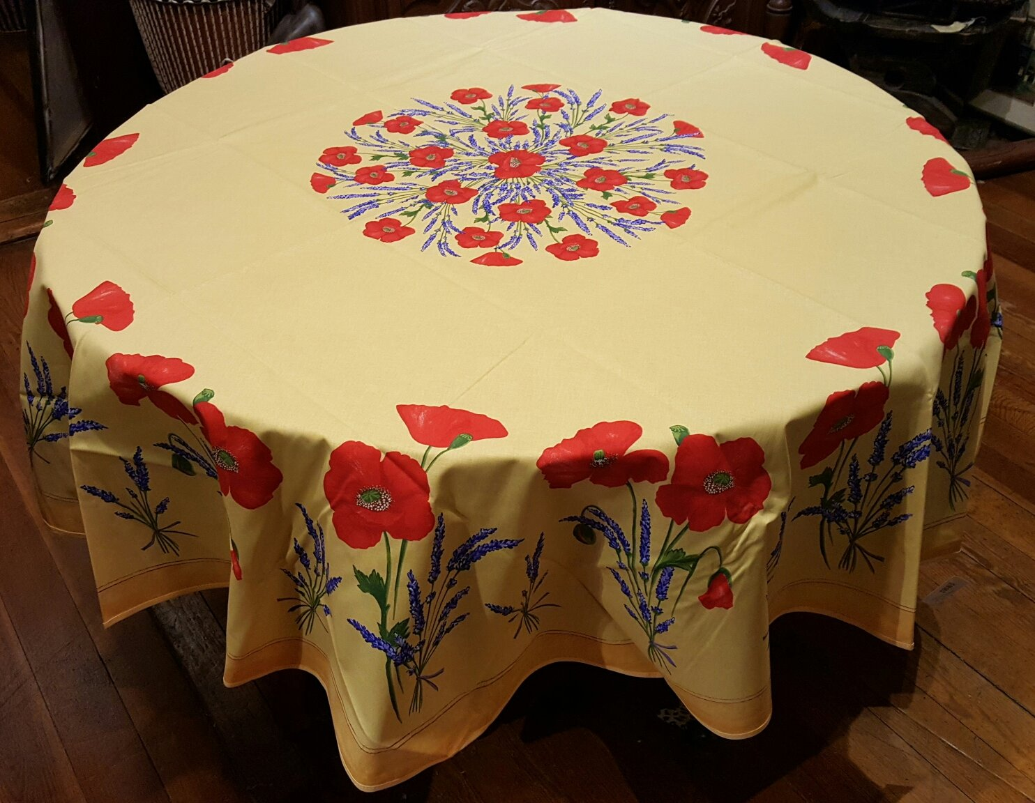 70 French Acrylic-Coated Round Tablecloth Poppy (Gold)