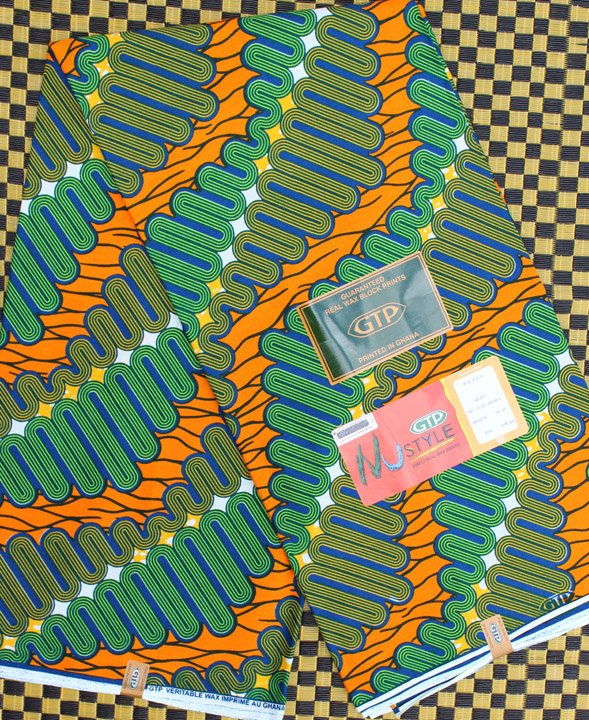 GTP Nustyle African Green and Orange Fabric from Ghana #720
