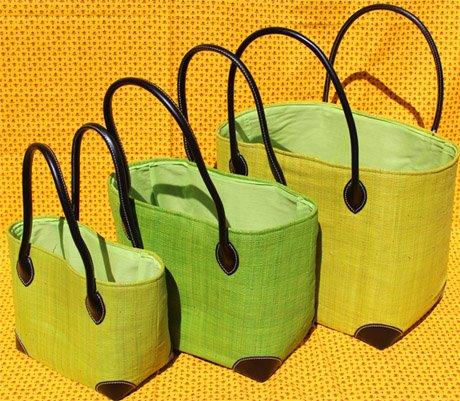 Madagascar Anise Green Raffia Bag
